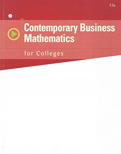 Contemporary Business Mathematics for Colleges  17th edition cover