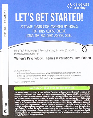 PSYCHOLOGY:THEMES+VAR.:ADV.SER.-ACCESS  N/A 9781305501720 Front Cover