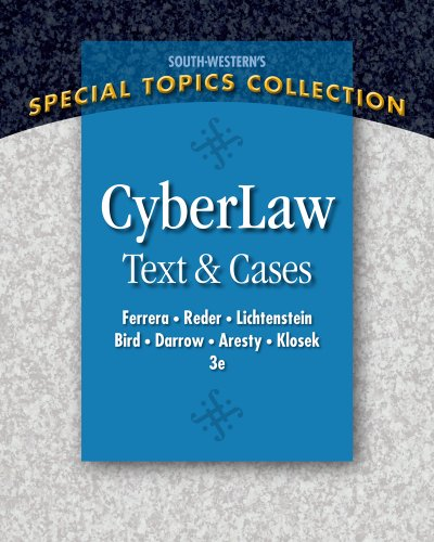 CyberLaw Text and Cases 3rd 2012 edition cover