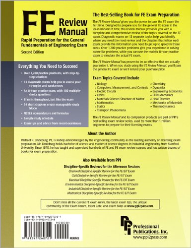 FE Review Manual Rapid Preparation for the General Fundamentals of Engineering Exam 2nd 2006 9781591260721 Front Cover