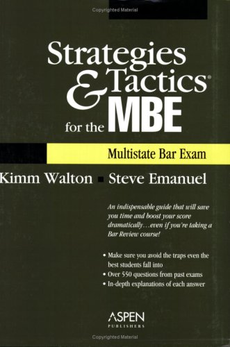 Strategies and Tactics for the MBE Multistate Bar Exam  2006 (Student Manual, Study Guide, etc.) edition cover