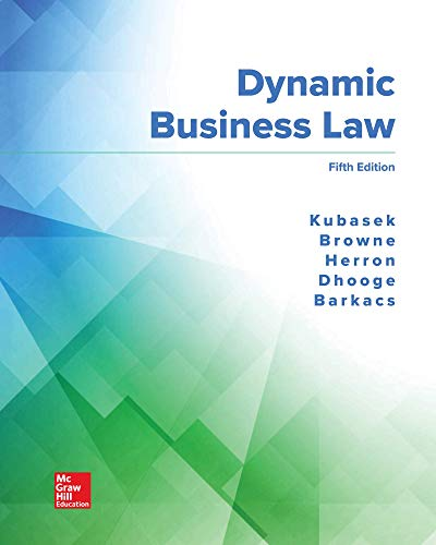 DYNAMIC BUSINESS LAW (LL)               N/A 9781260512724 Front Cover