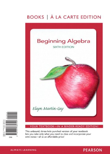 Beginning Algebra, Books a la Carte Edition  6th 2013 edition cover