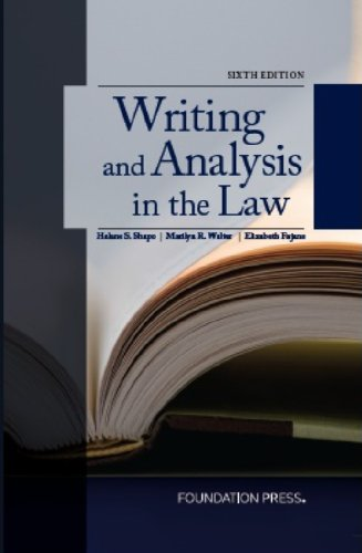 Writing and Analysis in the Law:   2013 edition cover