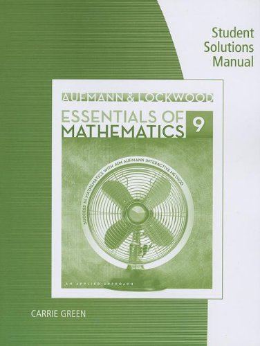 Essentials of Mathematics  9th 2014 9781285091730 Front Cover