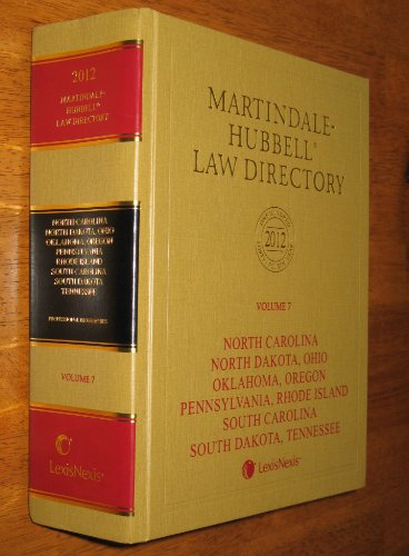 Martindale-Hubbell Law Directory 2012: NC, ND, OH, OK, OR, PA, RI, SC, SD, TN  2011 edition cover