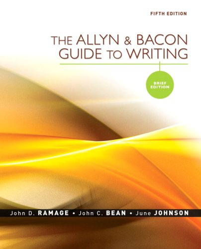 Allyn and Bacon Guide to Writing  5th 2009 (Brief Edition) edition cover