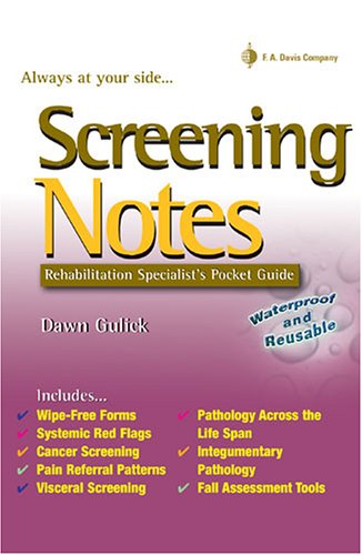 Screening Notes Rehabilitation Specialist's Pocket Guide N/A edition cover