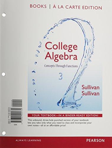 College Algebra: Concepts Through Functions, Books a La Carte Edition  2014 edition cover