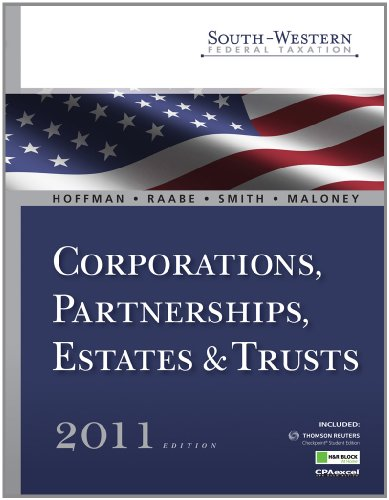South-Western Federal Taxation 2011 Corporations, Partnerships, Estates and Trusts 34th 2011 (Student Manual, Study Guide, etc.) 9780538468732 Front Cover