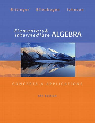Elementary and Intermediate Algebra Concepts and Applications 6th 2014 edition cover