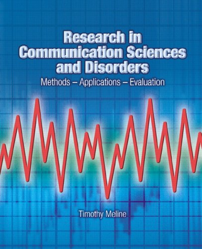 Research in Communication Sciences and Disorders Methods-Applications-Evaluations  2006 edition cover
