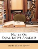 Notes on Qualitative Analysis  N/A edition cover