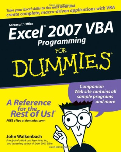 Excel 2007 VBA Programming for Dummies   2007 edition cover