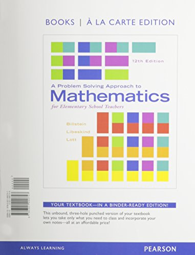 A Problem Solving Approach to Mathematics for Elementary School Teachers: Books a La Carte Edition  2015 edition cover