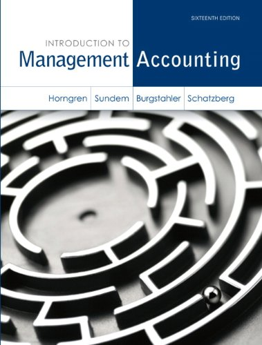 Introduction to Management Accounting  16th 2014 edition cover