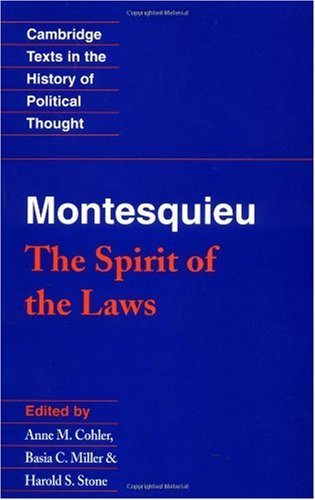 Montesquieu The Spirit of the Laws  1989 edition cover