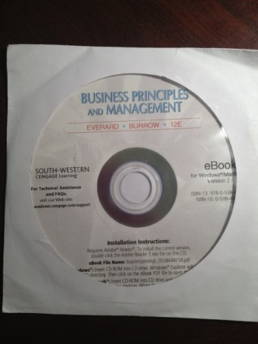 E-Book on Cd, Business Principles and Management  12th 2008 9780538444750 Front Cover