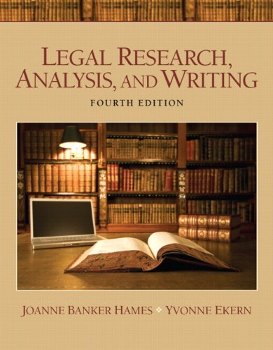 Legal Research, Analysis, and Writing  4th 2012 9780133060751 Front Cover