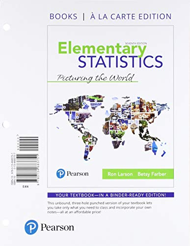 Elementary Statistics: Picturing the World, Books a La Carte Edition  2018 9780134683751 Front Cover