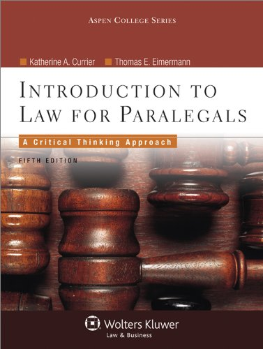 Introduction to Law for Paralegals Critical Thinking Approach 5th 2012 (Revised) edition cover