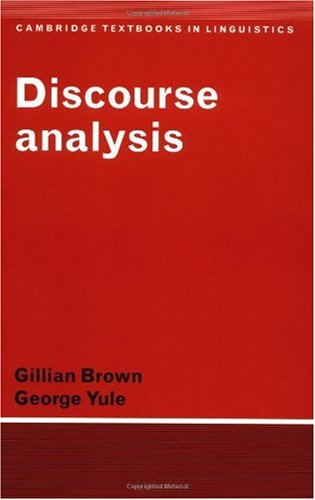 Discourse Analysis   1983 9780521284752 Front Cover