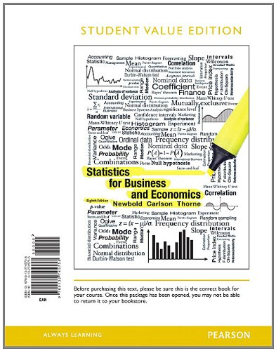 Statistics for Business and Economics  8th 2013 edition cover