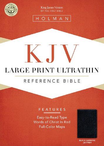 KJV Large Print UltraThin Reference Bible - Black Genuine Leather   2013 edition cover