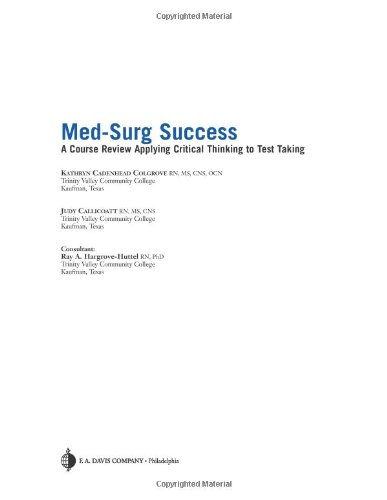 Med-Surg Success A Q&A Review Applying Critical Thinking to Test Taking  2007 edition cover