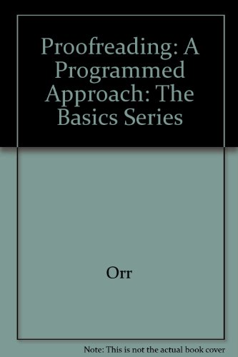 Proofreading A Programmed Approach 4th 2003 9780538723763 Front Cover