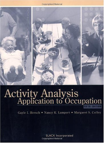 Activity Analysis Application to Occupation 5th 2005 edition cover