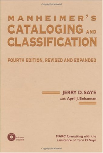 Manheimer's Cataloging and Classification  4th 1999 (Revised) edition cover
