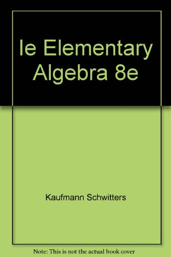 ELEM.ALGEBRA-W/CD >ANNOT.INSTR 8th 2006 9780495105770 Front Cover