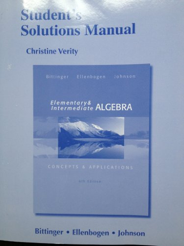 Student's Solutions Manual for Elementary and Intermediate Algebra Concepts and Applications 6th 2014 edition cover
