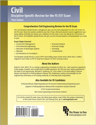 Civil Discipline-Specific Review for the FE/EIT Exam  3rd edition cover