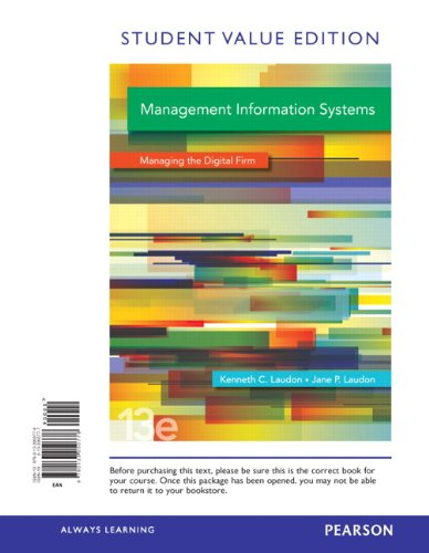 Management Information Systems: Student Value Edition  2013 edition cover