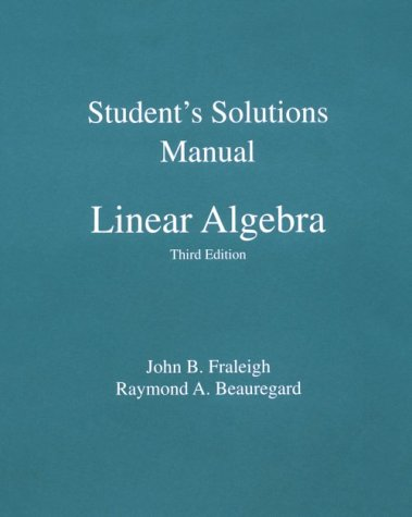 Linear Algebra  3rd 1995 (Student Manual, Study Guide, etc.) edition cover