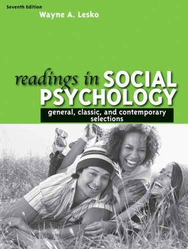 Readings in Social Psychology General, Classic, and Contemporary Selections 7th 2009 edition cover