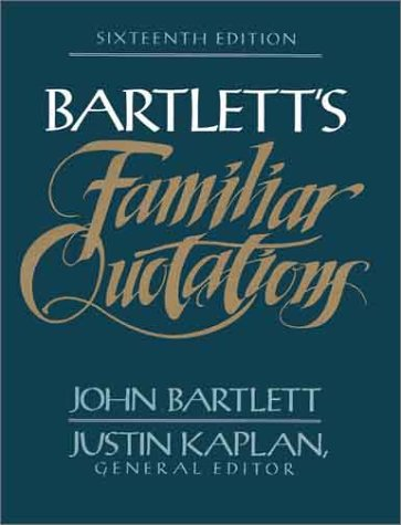Bartlett's Familiar Quotations  16th edition cover
