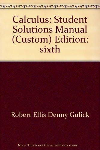 CALCULUS :STUD SOL.MAN >CUSTOM 1st edition cover