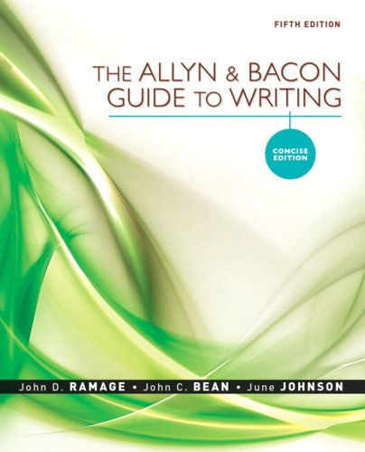 Allyn and Bacon Guide to Writing, Concise Edition, the, MLA Update Edition  5th 2009 edition cover