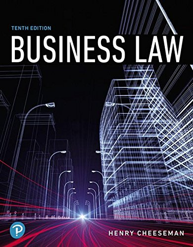 Business Law  10th 2019 9780134728780 Front Cover