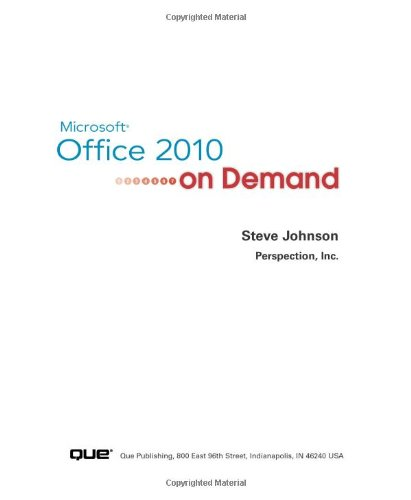 Microsoft Office 2010 on Demand   2010 9780789742780 Front Cover