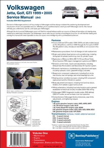 Volkswagen Jetta, Golf, GTI (A4) Service Manual 1. 8L Turbo, 1. 9L TDI Diesel, PD Diesel, 2. 0L Gasoline, 2. 8L VR6: 1999, 2000, 2001, 2002, 2003, 2004 2005  2011 edition cover