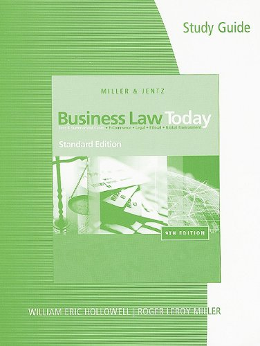 Study Guide for Miller/Jentz's Business Law Today, Standard Edition  9th 2011 edition cover