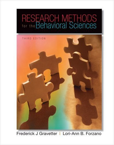 Research Methods for the Behavioral Sciences  3rd 2009 edition cover