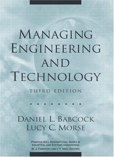Managing Engineering and Technology  3rd 2002 edition cover