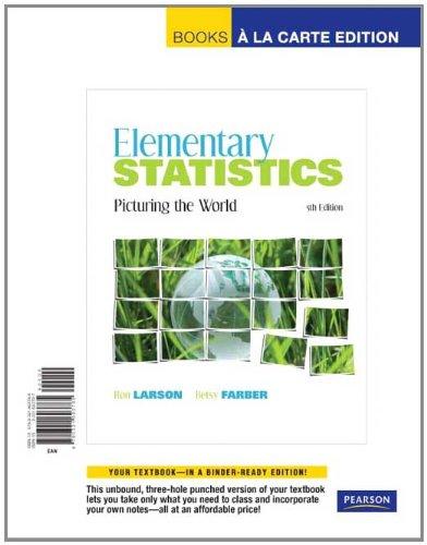 Elementary Statistics Picturing the World, Books a la Carte Edition 5th 2012 edition cover