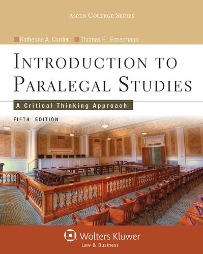 Introduction to Paralegal Studies: A Critical Thinking Approach  2012 edition cover