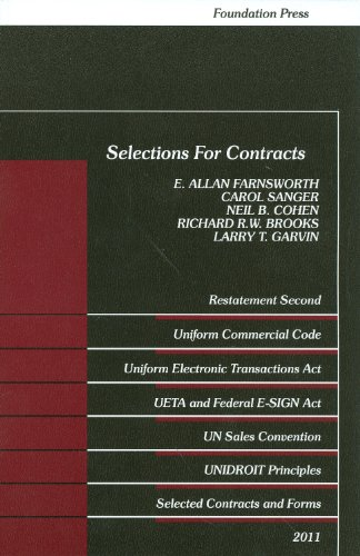Selections for Contracts Uniform Commercial Code, Restatement 2011st 2011 (Revised) edition cover